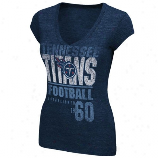 Tennessee Titans Shirt : Tennessee Titans Ladies Navy Blue Victory Play V-neck Shirt