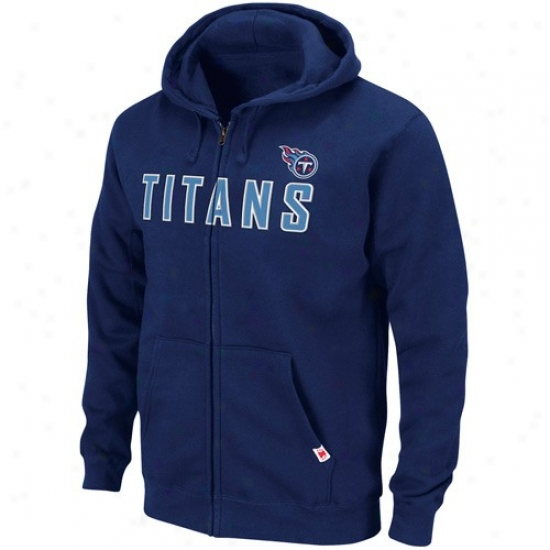 Tennessee Titans Sweatshirt : Tennessee Titans Navy Blue Classic Heavyweighy Full Zip Sweatshirt