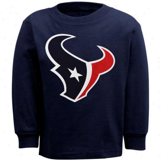 Texans Apparel: Reebok Texans Toddler Navy Blue Primary Logo Long Sleeve T-shirt
