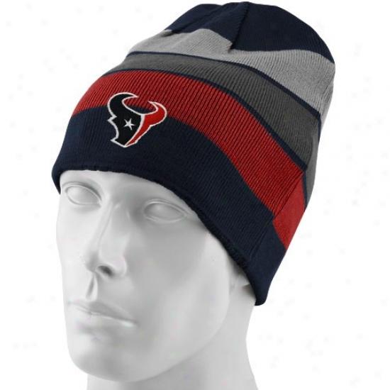Texans Hat : Reebok Texans Navy Blue-team Striped Cuffless Reversible Beanie