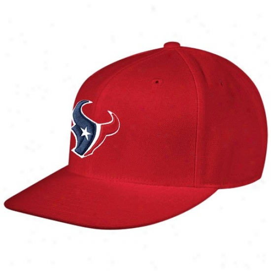 Texans Hat : Reebok Texans Red Sidelihe Flat Edge Fitted Hat