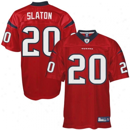Texans Jersey : Reebok Nfl Equipment Steve Slaton Texans Genuine Jersey - Red Alternate