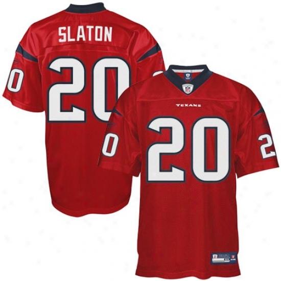 Texans Jersey : Reebok Nfl Equipment Steve Slaton Texans Genuine Jersey - Red Alternate