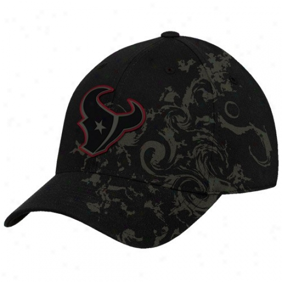 Texans Commodities: Reebok Texans Black Tattoo Swirl Structured Flex Be suited Hat