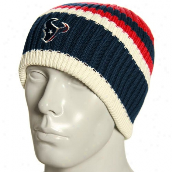 Texans Merchandise: Reebok Texans Natural Team Color Striped Knit Beanie
