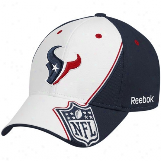 Texans Merchandise: Reebok Texans White-navy Blue Shield Structured Flex Fit Hat