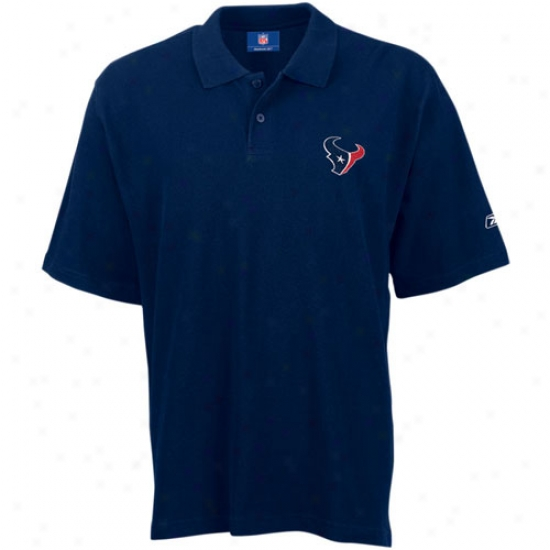 Texans Polo : Reebok Texans Navy Team Logo Pique Polo