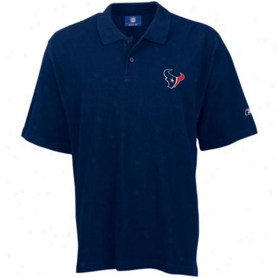 Texans Polo : Reebok Texans Navy Team Logo Pique Polo