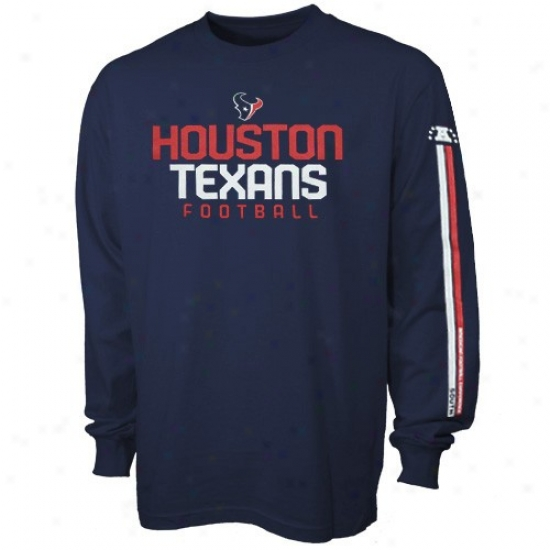 Texans Shirts : Reebok Texans Youth Navy Blue Strongside Long Sleeve Shirts