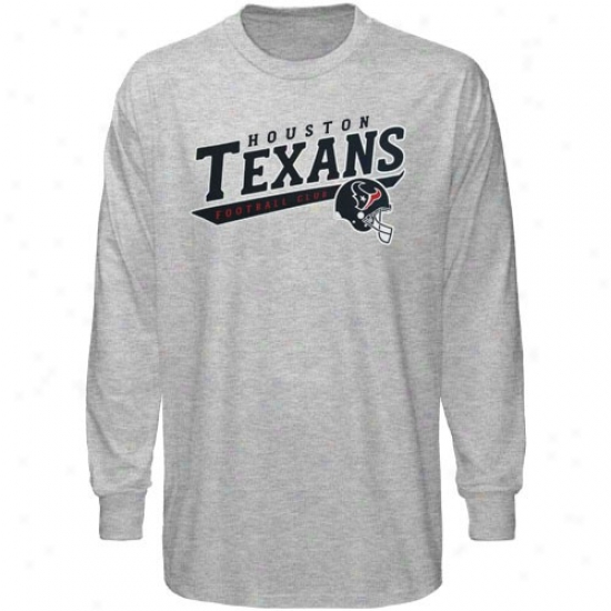 Texans Tees : Reebok Texans Ash The Call Is Tails Long Sleeeve Tees