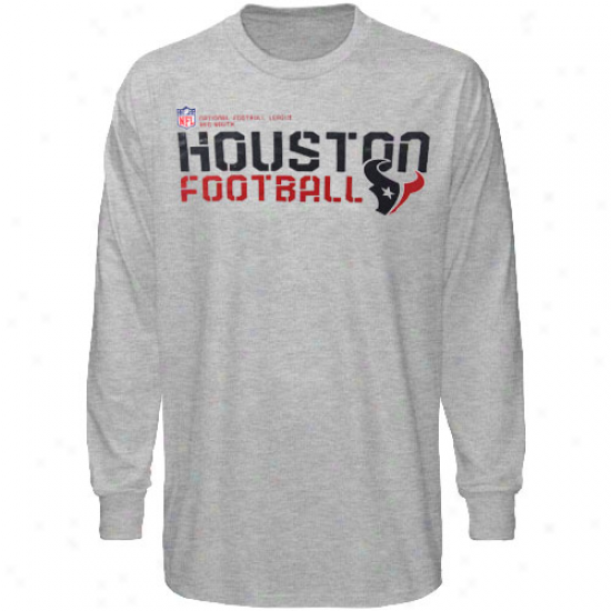 Texans Tees : Reebok Texans Youth Ash Sideline Stztement Long Sleeve Tees
