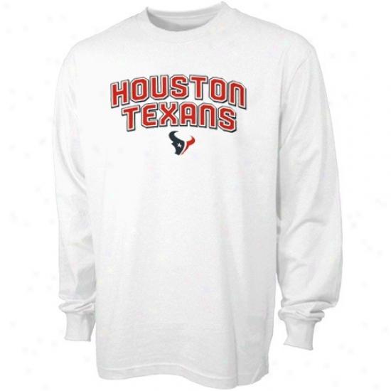 Texans Tshirts : Reebok Texans White Twice Arch Team Logo Long Sleeve Tshirts