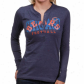 Bears Tee : Bears Ladies Navy Blue Game Day Gal Slow Slee\/e Heathdred Henley Tee