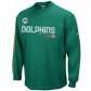 Miami Dolphin Tshirg : Reebok Miami Dolphin Youth Aqua Sideline Tacon Long-winded Sleeve Tshirt