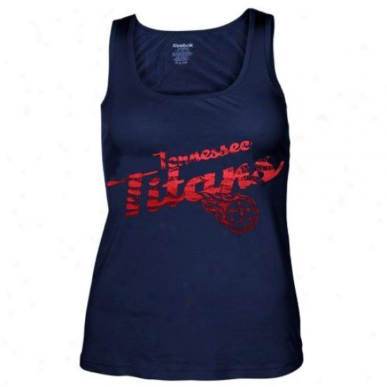 Titans Attire: Reebok Titans Ladies Navy Blue Rah-rah Shift Tank Top