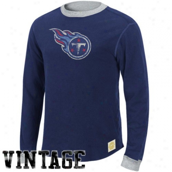 Titans Attire: Titans Navy Blue-ash Reversible Double Knit Long Sleeve Vintage T-shirt