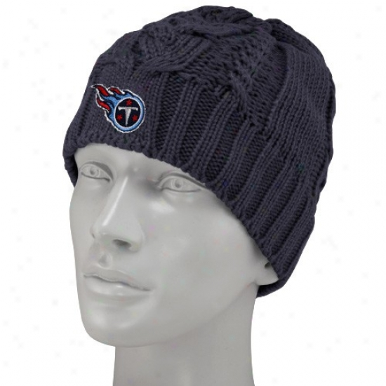 Titans Gear: Reebok Tiatns Ladies Navy Blue Braided Knit Beanie
