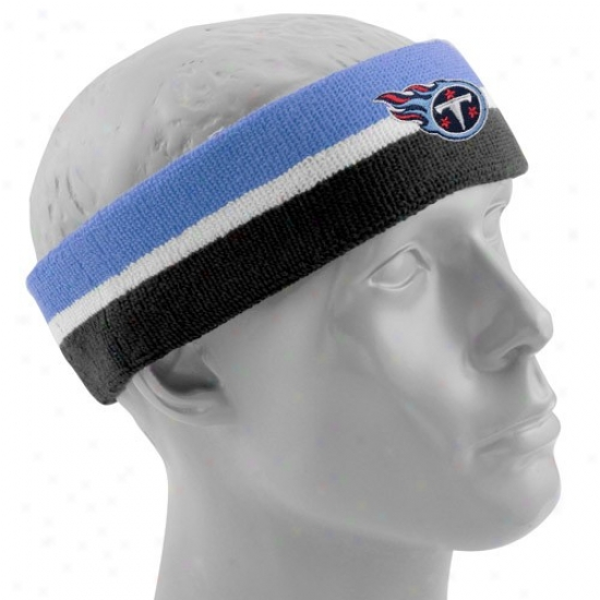 Titans Gear: Reebok Titans Navy Blue-light Blue Striped Headband