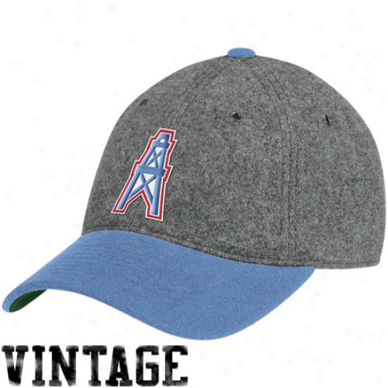 Tiyans Hat : Mitchell & Ness Houston Oilers Gray Melton Wool Flex Hat