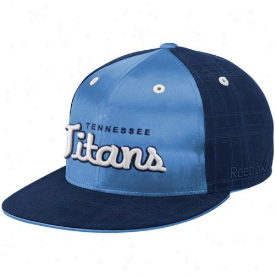 Titans Hat : eRebok Titans Navy Blue-light Blue Fashion Flat Bill Fitted Hat