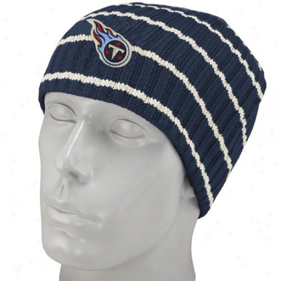 Totans Hat : Reebok Titans Navy Blue Stripe Vintage Knit Beanie