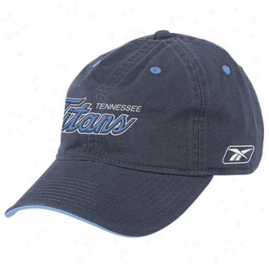 Titans Hats : Reebok Titans Navy Blue Script Slouch Hats