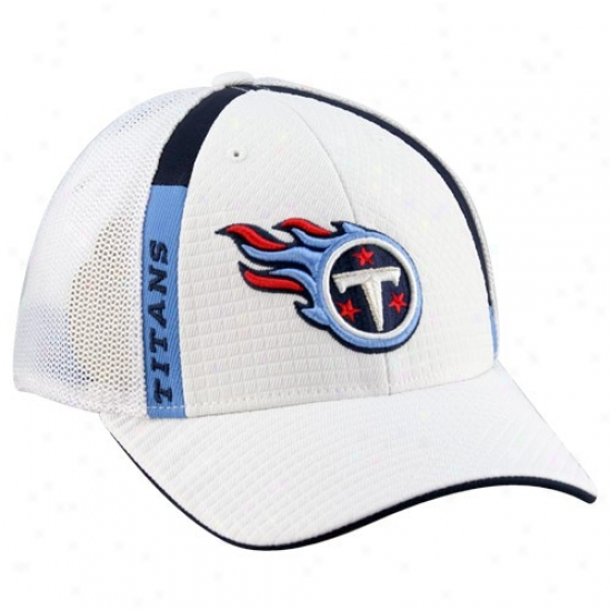 Titans Hats : Reebok Titans White Structured Mesh Flex Hats