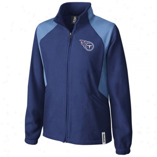 Titans Jerkin : Reebok Titans Ladies Navy Blue Rhythm Microfleece Full Zip Jerkin