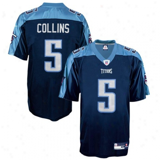 Titans Jersey : Reebok Titans #5 Kerry Collins Navy Blue Replica Football Jersey