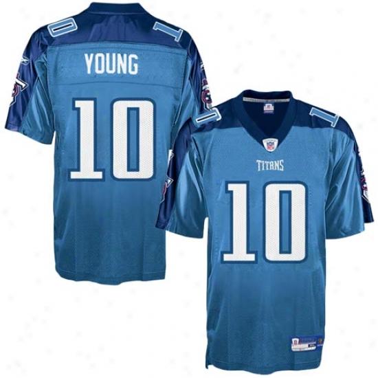 Titans Jerseys : Reebok Nfl Equipemnt Titans #10 Vince Young Light Blue A1ternative Autograph copy Jerseys