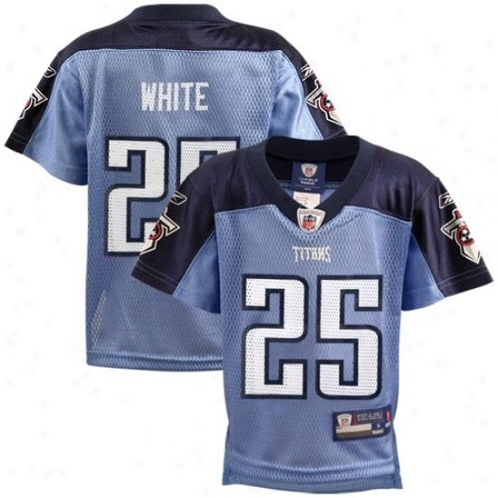 Titan sJerseys : Reebok Nfl Equipment Titans #25 Lendale White Preschool Light Blue Autograph copy Football Jerseys