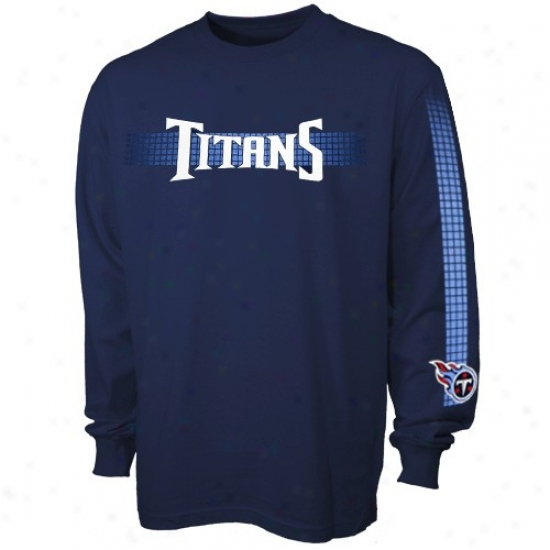 Titans Shirt : Titans Navy Blue Flea Flicker Long Sleece Shirt