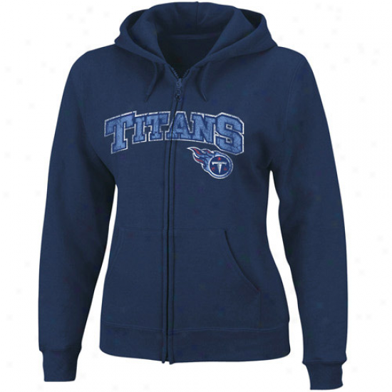 Titans Sweatshirts : Titans Ladies Navy Blue Football Classic Ii Full Zip Sweatshirts