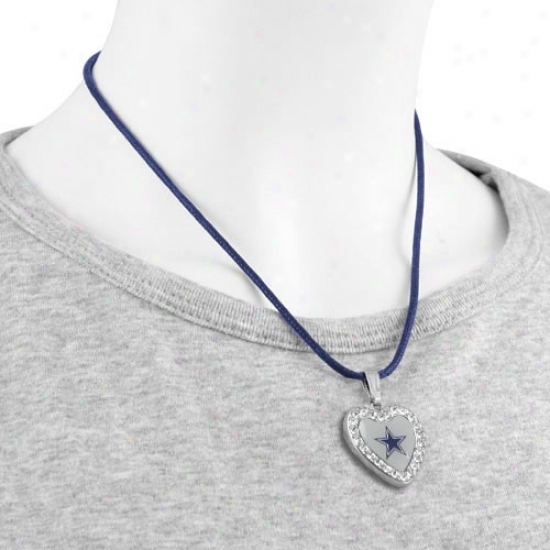 Touch By Alyssa Milano Dallas Cowboys Crystal Heart Team Logo Pendant Necklace