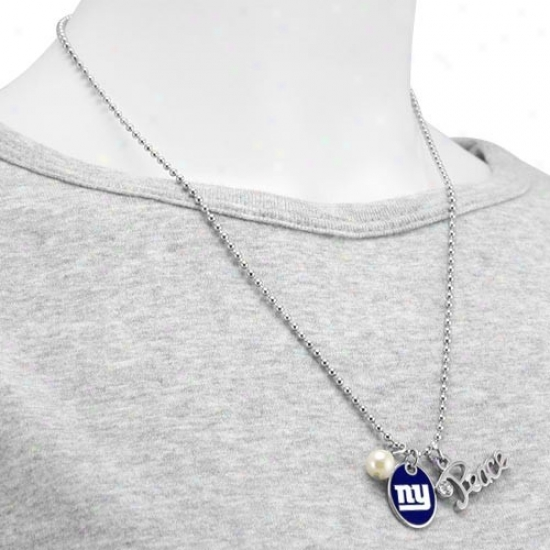 Touch By Alyssa Milano New York Giants Peace & Pearl With Team Logo Pendant Necklace