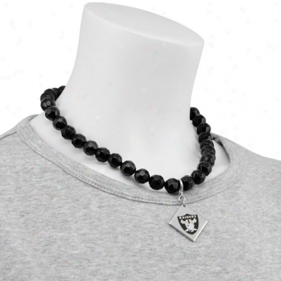 Touch By Alyssa Milano Oakland Raiders Beaded Necklace With Team Logo Pendant