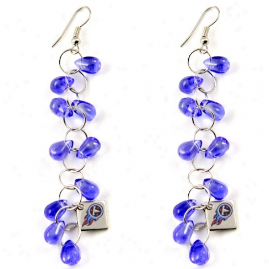 Touch By Alyssa Milano Tennessee Titans Blue Beaded Drop Earrings