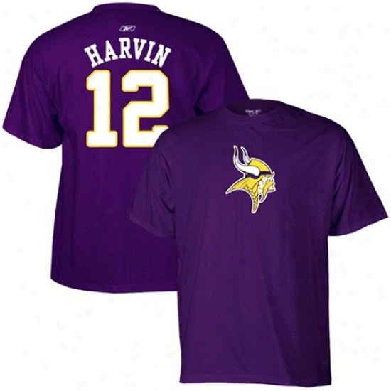 Vikings Apparel: Reebok Vikings #12 Percy Harvin Purple Scrimmage Mechanism T-shirt