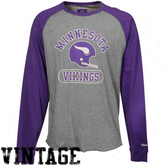 Vikings Attire: Reebok Vikings Ash-purple Vintage Raglan Long Sleeve Premium T-shirt