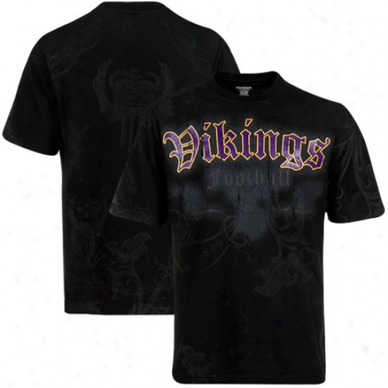 Vikings Attire: Reebok Vikings Black All Over T-shirt