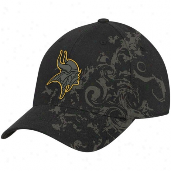 Vikings Cap : Reebok Vikings Blaco Tattoo Swirl Structured Flex Fit Cap