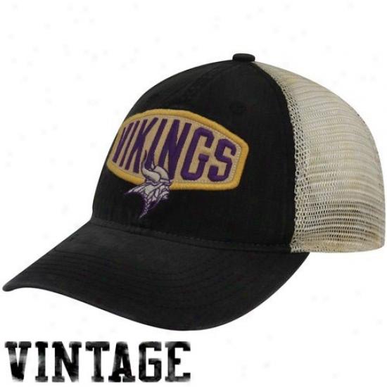 Vikings Caps : Reebok Vikings Black Retro Slouch Mesh Flex Fit Caps