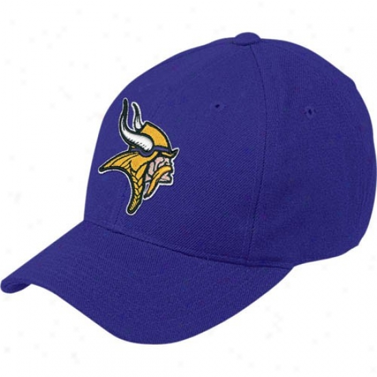 Vikings Gear: Reebok Vikings Purple Basic Logo Wool Blend Hat