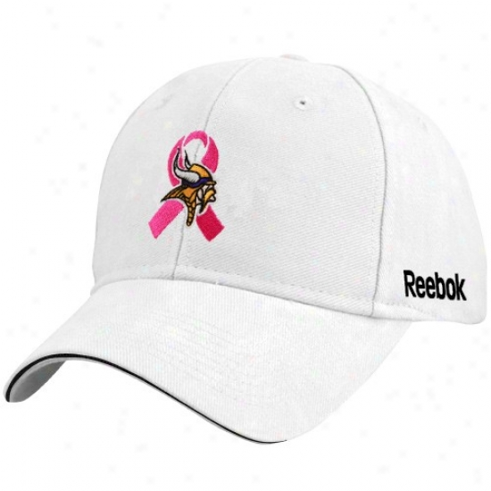 Vikings Gear: Reebok Vikings White Breast Cancer Awareness Flex Fit Hat