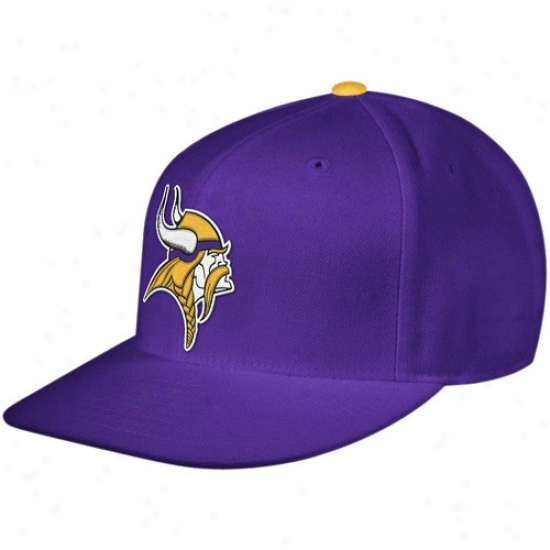 Vikings Hat : Mitchell & Ness Vikings Purple Thorwback Fitted Flat Bill Hat