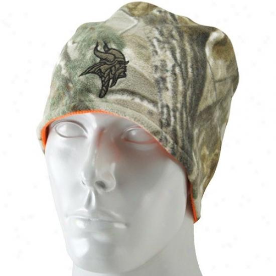 Vikings Hat : Reebok Vikings Real Tree Camo-orange Reversible Knit Beanie