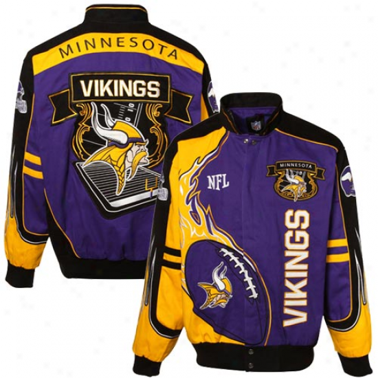 Vikings Jaackets : Mitchell & Ness Vikings Purple-gold-black Redzone Corton Twill Full Button Jackets