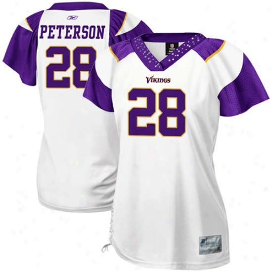 Vikings Jersey : Reebok Vikings #28 Addian Peterson Ladies Wyite Field Flirt Premium Fashion Jersey