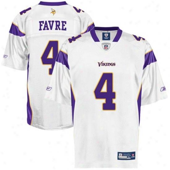 Vikings Jerseys : Reebok Nfl Equipment Vikings #4 Brett Favre White Replica Football Jerseys