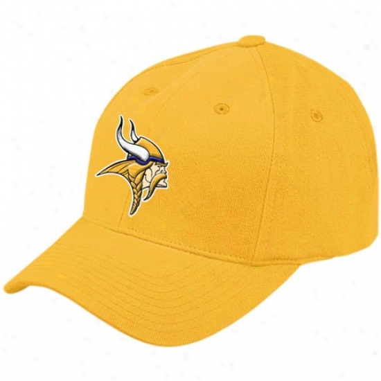 Vikings Merchandise: Reebok Vikings Gold Brushed Basic Logo Adjustable Hat